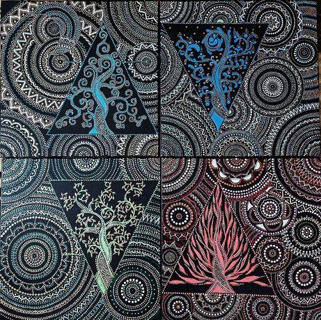 Картина полиптих на холсте Стихии Мандала Фэн шуй