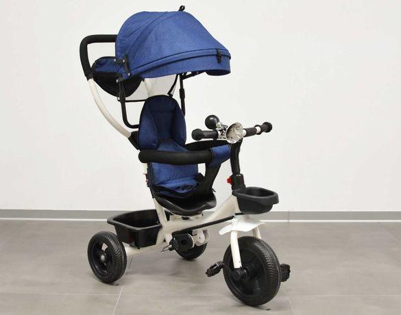 Rowerek trójkołowy dla dzieci spacerówka obrotowy niebieski