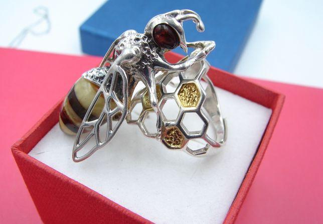 Pierścionek srebrny z bursztynem PSZCZOŁA, przepiękna!
