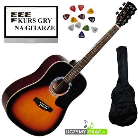 Gitara akustyczna EVER PLAY AP-400 BSB +POKROWIEC+piórka+WysyłkaGRATIS