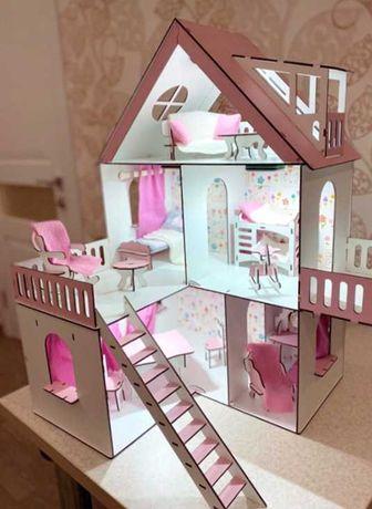 деревянный домик набор мебель лол lol кукольный домик подарок свет
