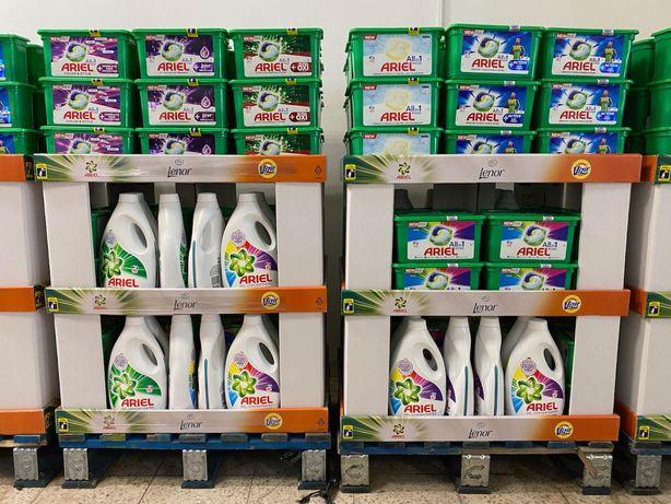 Kapsułki / Płyny do prania ARIEL + standy sprzedażowe ! 99 sztuk w PAL