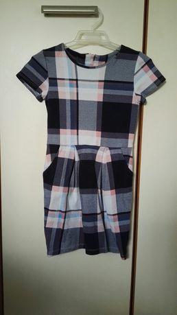 Sukienka h&m w kratkę, elegancka 4-6 lat, 116-122