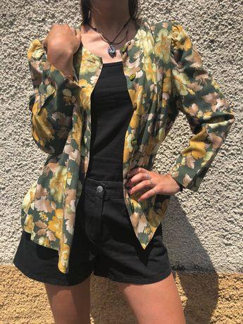 Camisa/casaco florido, vintage, M/L