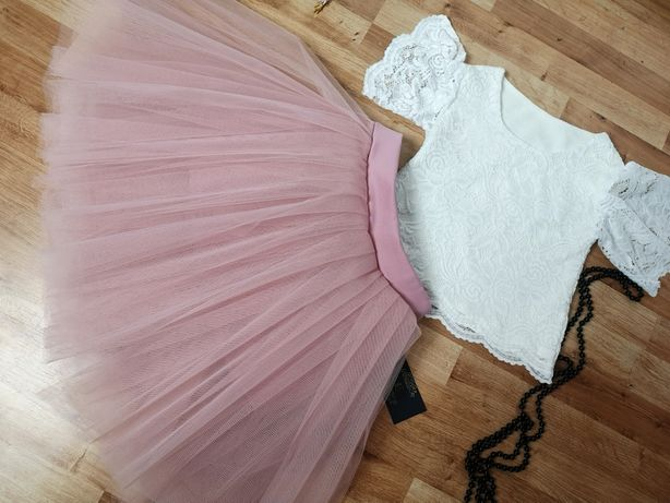 Piękna tiulowa spódniczka pudrowy róż kolory