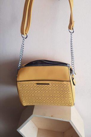 Modna żółta musztardowa torebka łańcuszek