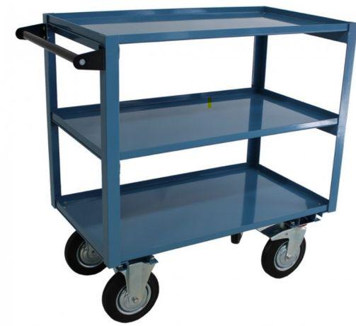 Carro Carrinho de 3 prateleiras armazém capac. 350kg rodas borracha