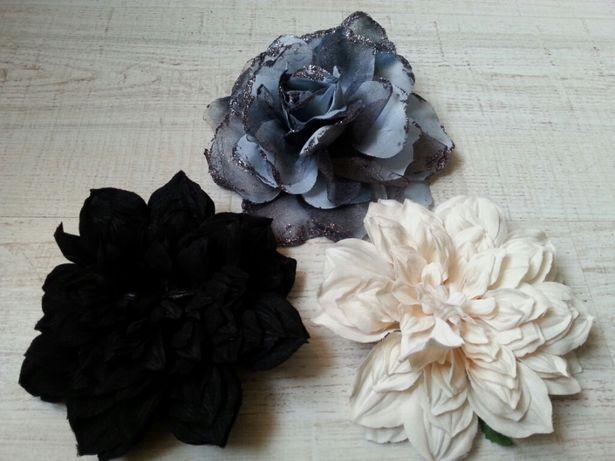 Kwiat broszka przypinka ozdoba włosów szary czarny ekri