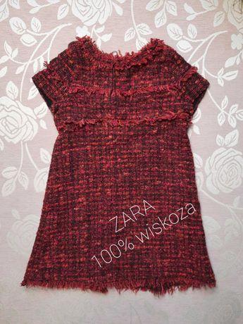 ZARA ciepła sukienka wiskozowa rozmiar 122