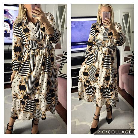 Piękne włoskie sukienki na guziczki z paskiem 40,42,44  Szer p