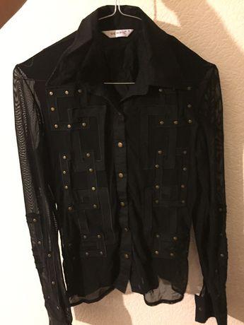 Блузка сорочка рубашка чорна прозора