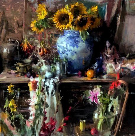 Натюрморт маслом с цветами под заказ Украина. Документ на картину