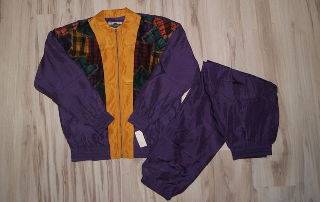 Komplet bluza i spodnie jedwabne vintage zestaw