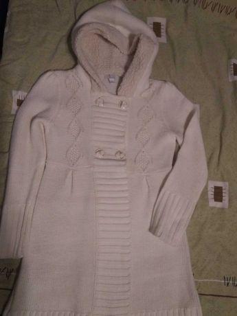 Весеннее пальто с капюшоном, акрил, рост 160см, на 10-12лет