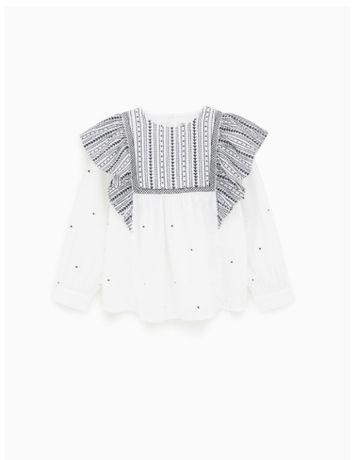 Очень красивая нарядная рубашка блузка вышитая от Zara 128