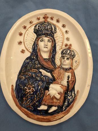 Fajans Włocławek Matka Boska z Jezusem plakieta relief obraz