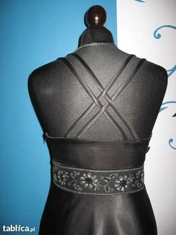 Sukienka elegancka satynowa czarna wieczorowa!!