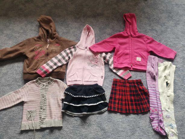 Paka ubrań dla dziewczynki, spodnie, bluzki, spódnice, rozmiar 98, 104