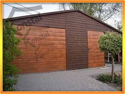 SUPERLINE PLUS 01 - garaż blaszany z obróbkami i rynnami + WIATKA 7x5