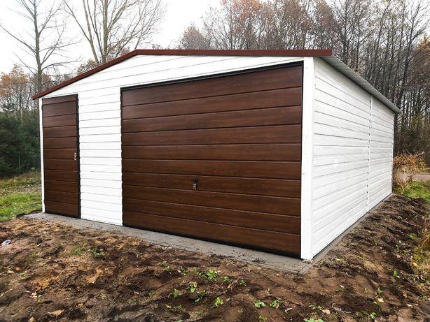 Garaż blaszany 5x6 biel + orzech + brąz garaże blaszane TRANSTAL