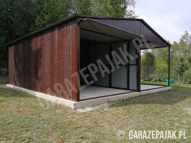 Garaż z boczną wiatą garaże blaszane drewnopodobne TRANSPORT I MONTAŻ