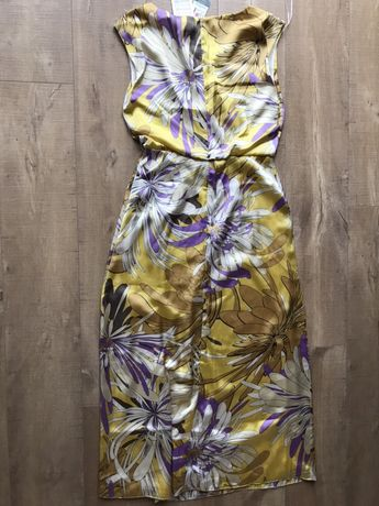 Mona ProMod sukienka nowa tanio żółta fioletowa kremowa rozmiar S M