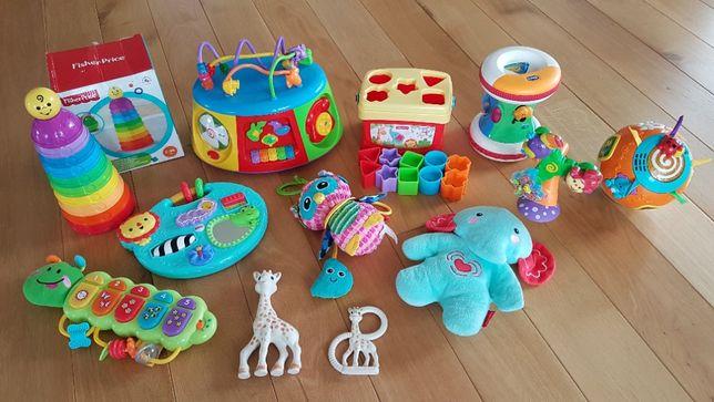 Zabawki grające Fisher Price sorter słonik wieża żyrafki sophie