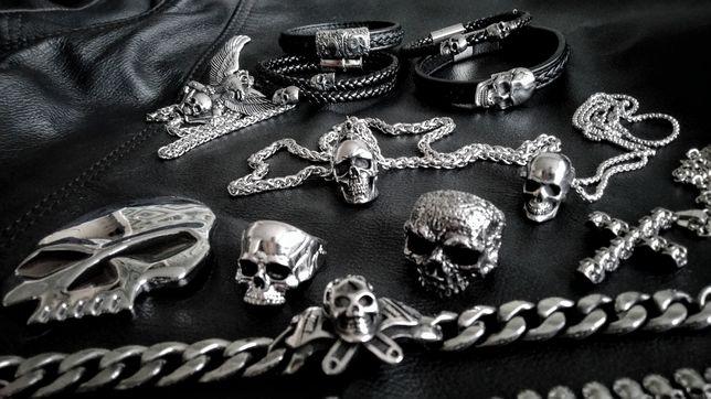 Stalowa gotycka czaszka skull wisiorek Rock Metal Moto Chopper Harley