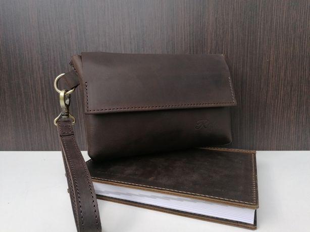 Кожаная мужская барсетка клатч кошелек натуральна шкіра чоловіча сумка