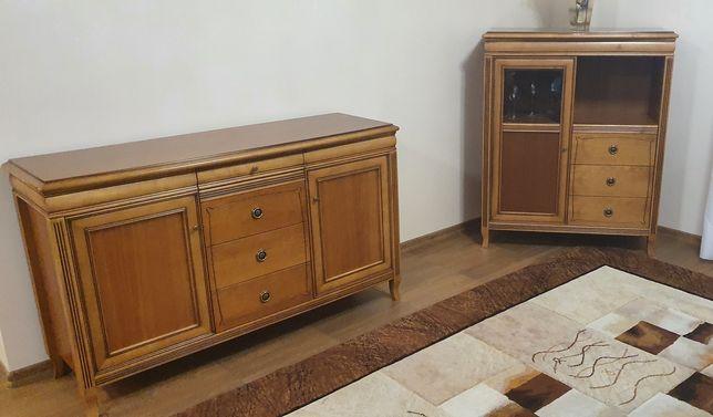 Drewniane solidne meble do salonu, stół, 4 krzesła, 2 komody, zestaw