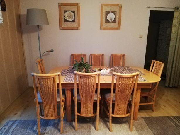 Zestaw stół rozkladany (3metry!) i 8 krzeseł prawdziwy rattan