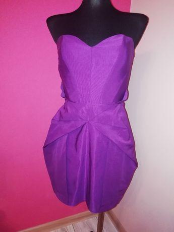 Fioletowa soczysta śliwka sukienka gorsetowa serduszko z zakładkami S