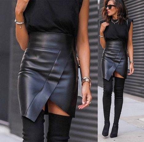 Асимметричная кожаная юбка на флисе