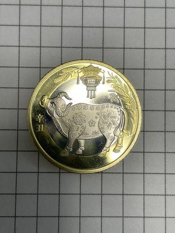 Юбилейная китайская Монета 10 юаней год быка 2021