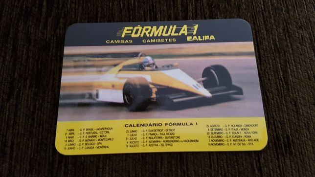 Calendário Camisas Formula 1, 1985