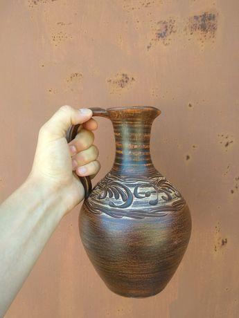 Кувшин из глины посуда глиняная для вина глечик сосуд ручная работа