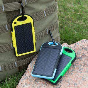 Wodoodporny POWER BANK SOLARNY 5000mAh 2 x USB
