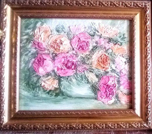 Картина с багетом Розы, 24*18 см, масло, ДВП, c багетом