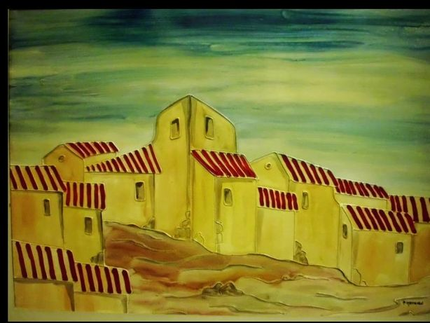 Original pintura assinada do Artista Paul Mathieu-paisagem-Andalusia