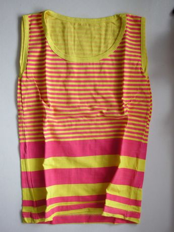 Tshirt top amarela e rosa choque fucsia blusa cavas tamanho S