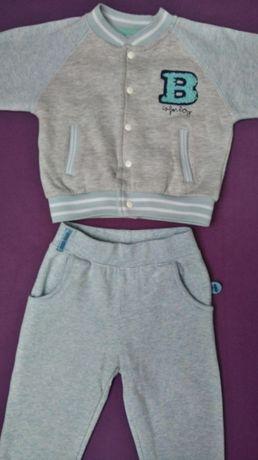 Cool Club Smyk niebieskie dresy + body długi rękaw rozmiar 80