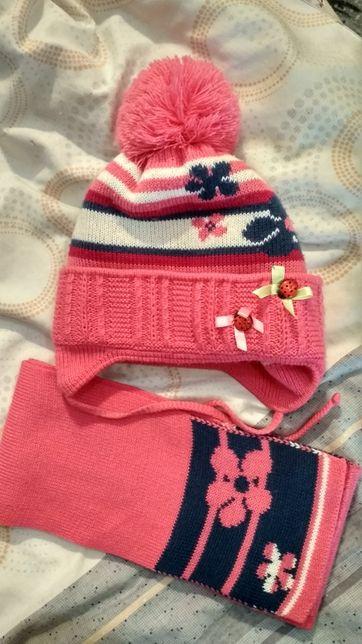 Набор шапка + шарф на 2-3 года