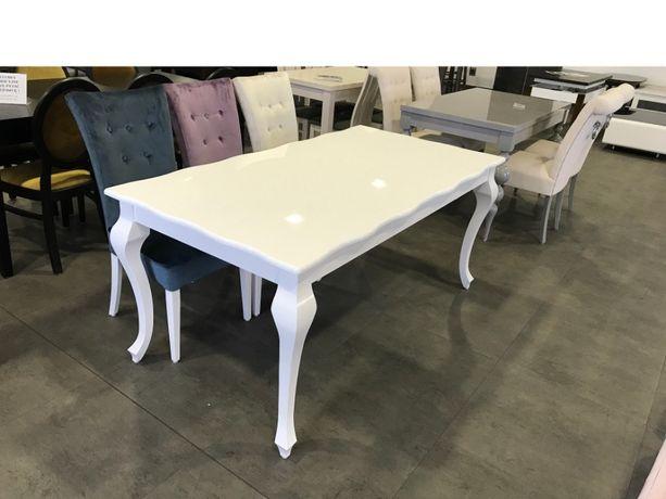 Stół drewniany rozkładany Bella II biały połysk od Lemag
