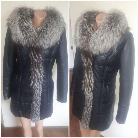 Пальто зимове шкіра