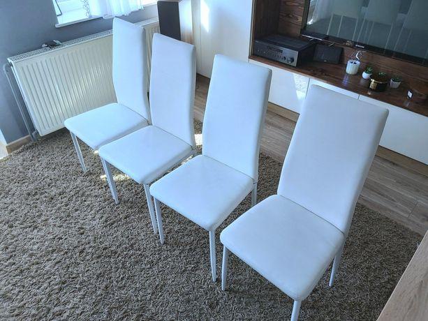 Krzesła krzesło białe ekoskóra do jadalni, salonu