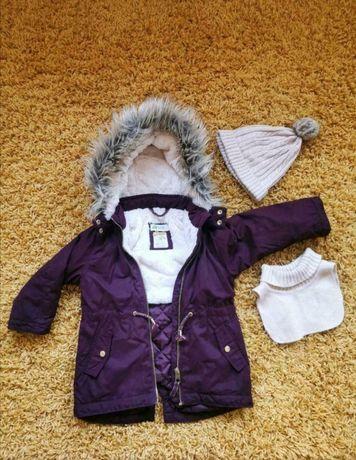 Kurtka Parka dziewczęca burgundowa H&M 104 + czapki H&M gratis!