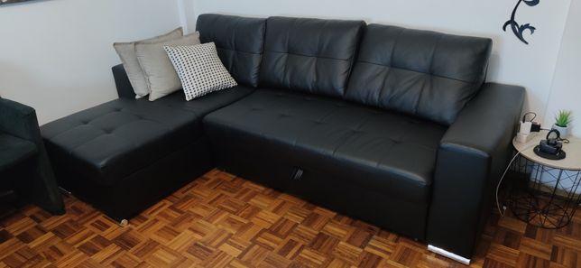 Sofá Chaise longue em semi pele preto