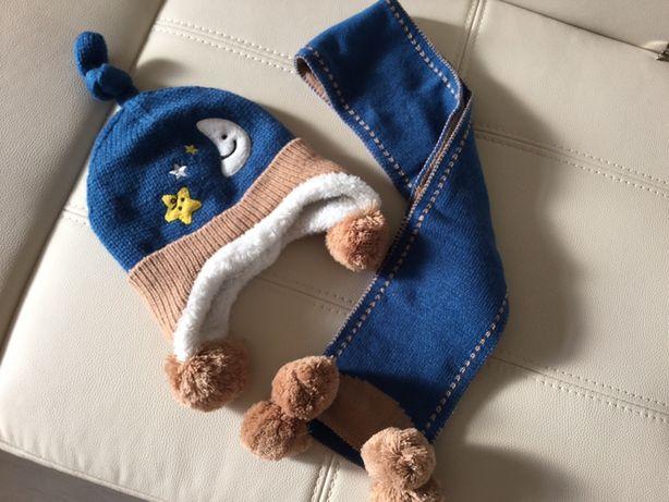 Зимняя детская шапка и шарф на ребёнка 9-24 месяцев!