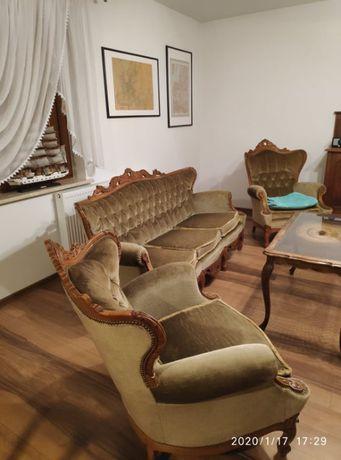 Stylowy wypoczynek, sofa i dwa fotele w stylu ludwika, berżera, antyk