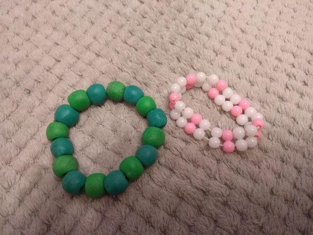 Детские браслеты на руку зелёный розовый белый браслет